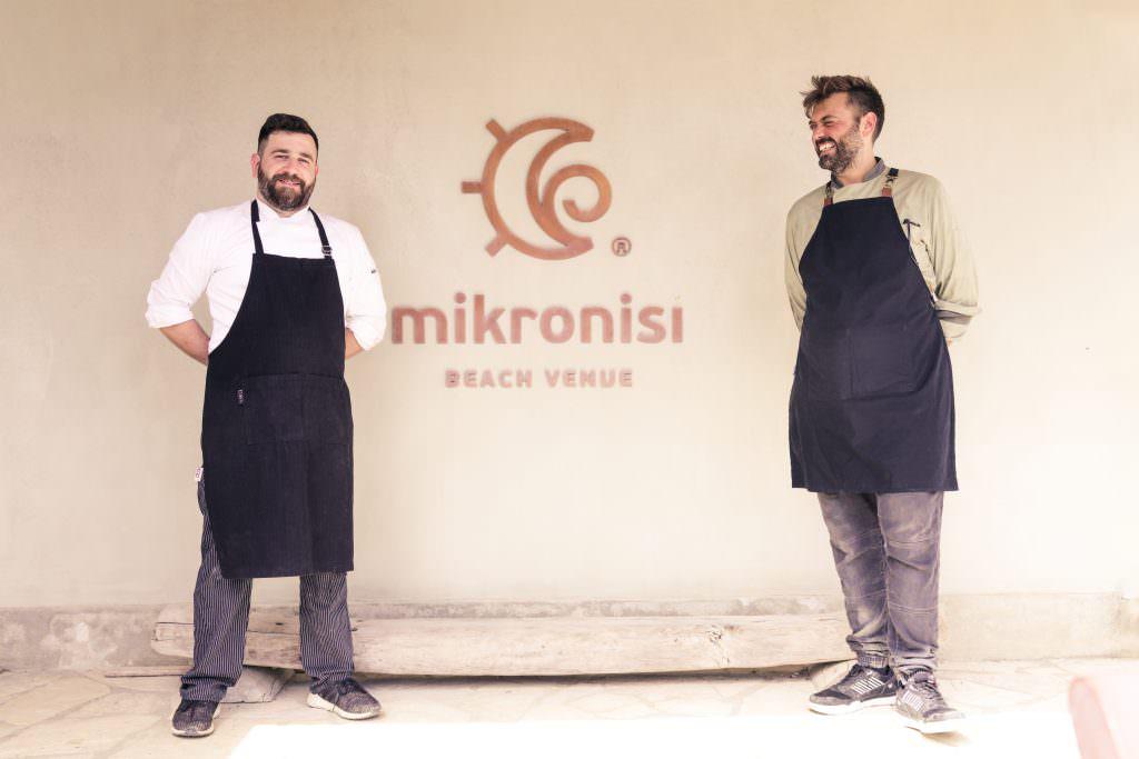 Manolis Manatos on the right Spiros Dassios on the left Mikro Nisi Greek chefs